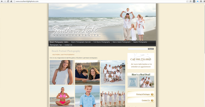 Southern Light Photography Web Site Design